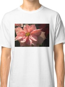 Sunny Pink Poinsettia - Vivacious Christmas Greetings Classic T-Shirt