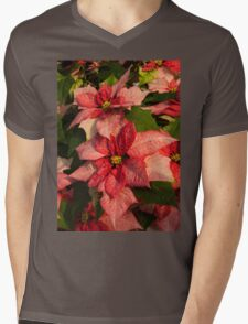 Exotic Speckled Poinsettia Blossoms - Christmas from the Tropics  Mens V-Neck T-Shirt