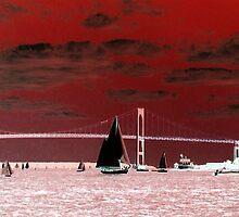 Sailboats by the Pell Bridge, HSL invert by Jane Neill-Hancock
