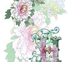 19th C. Peonies, Monogram H by VintageEraArt