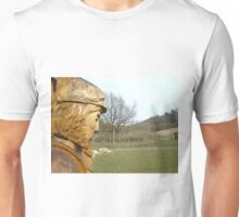 Carved man at Dalby Forest Unisex T-Shirt