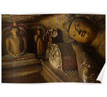 Buddha statues, Drambulla cave temple, Sri Lanka Poster