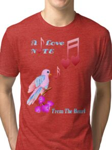 Pink Bird and Love Notes-lettered Tri-blend T-Shirt
