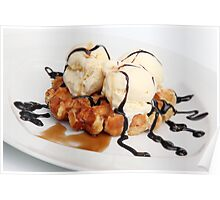 Waffle with ice cream chocolate and maple syrup  Poster