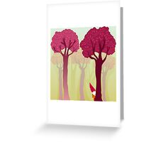 colorful forest with cute dwarf Greeting Card