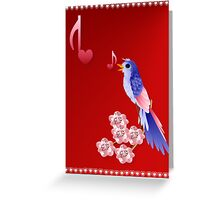 Blue Bird and Love Notes Greeting Card