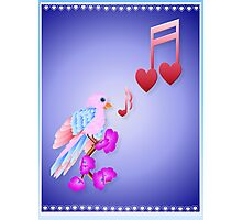 Pink Bird and Love Notes Photographic Print