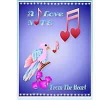 Pink Bird and Love Notes-lettered Photographic Print