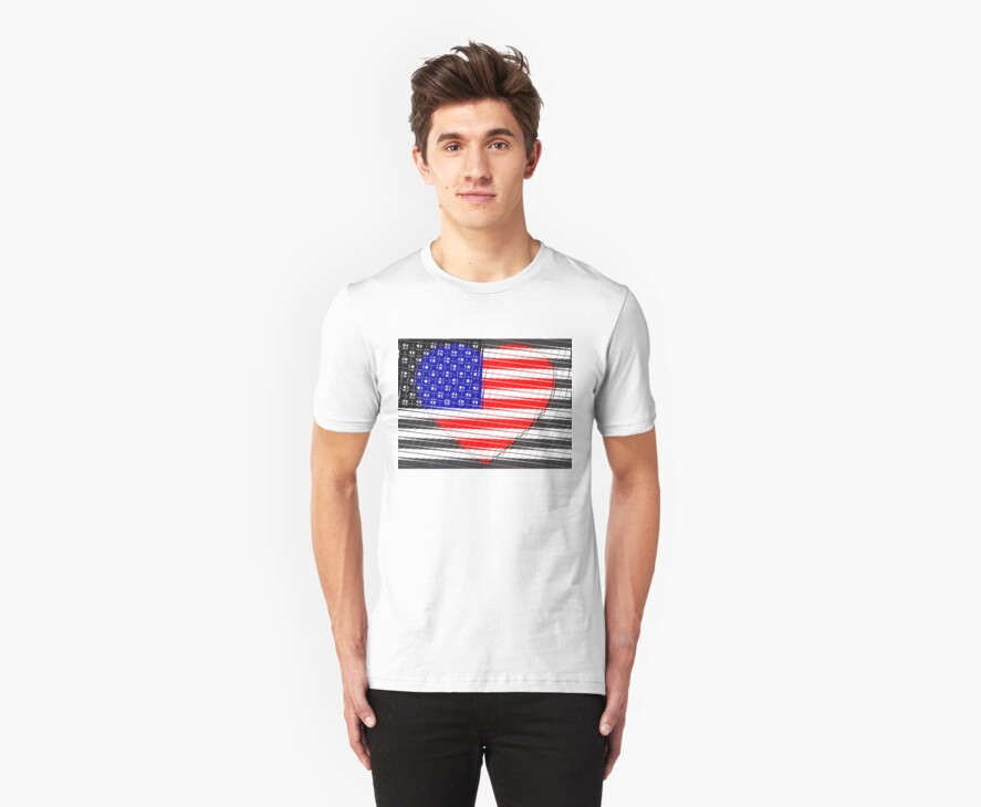 United States Flag T-shirt by Nhan Ngo