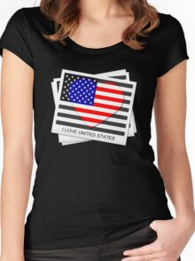 United States Flag T-shirt Women's Fitted Scoop T-Shirt