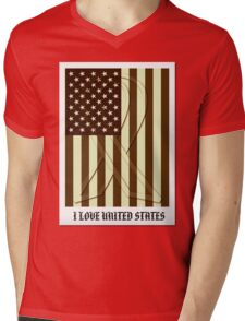 United States Flag Vintage T-shirt Mens V-Neck T-Shirt