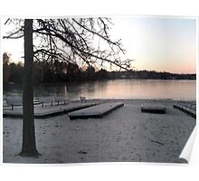 A Pink Winter Sunset Over Frozen Pines Lake, Wayne NJ Poster