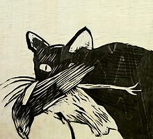 cat and bird woodblock by donnamalone