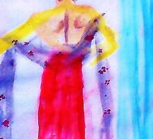 Lady in red, watercolor by Anna  Lewis