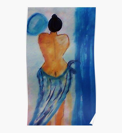 Lady in blue,watercolor Poster