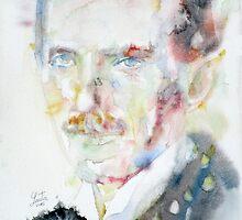 NIKOLA TESLA - watercolor portrait.3 by lautir