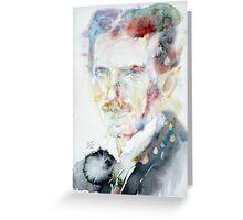 NIKOLA TESLA - watercolor portrait.3 Greeting Card