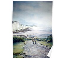 Cuckmere Haven, A study in greys. Poster
