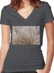 Icy Grass Sculptures Women's Fitted V-Neck T-Shirt