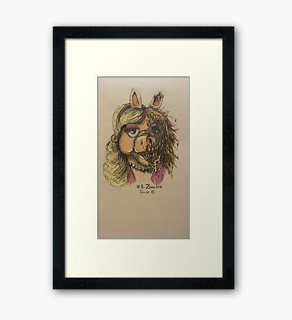 Zombie Piggy Framed Print