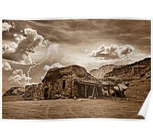 Southwest Indian Rock House and Lightning Striking Sepia Poster