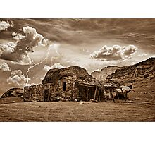Southwest Indian Rock House and Lightning Striking Sepia Photographic Print