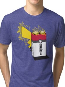 Pokecell Pikachu Battery Tri-blend T-Shirt