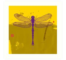 Big Dragonfly In Purple And Yelow Art Print