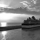 Civitavecchia Harbour - B&W by Tom Gomez