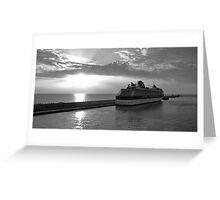 Civitavecchia Harbour - B&W Greeting Card