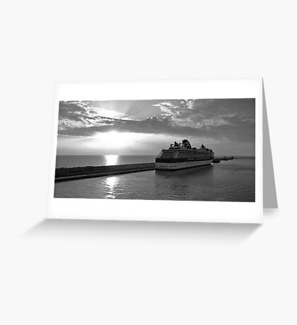 Civitavecchia Harbour - B&W Greeting Card