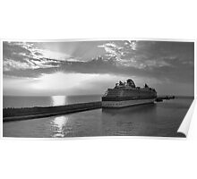 Civitavecchia Harbour - B&W Poster