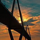 Firey sunset behind Ravenel Bridge by KRphotog
