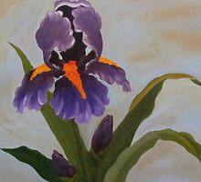 Purple Iris-Original Oil Painting 36x48 by nstep68214