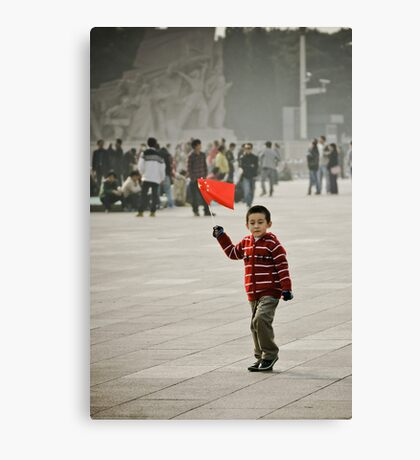 Young child on tian'anmen place Canvas Print