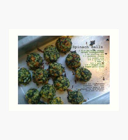 Spinach Balls Art Print