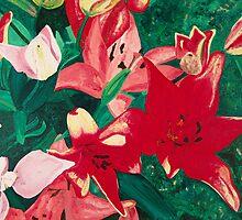 Red Lilies by Amara Paul