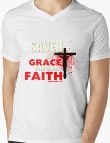 Saved by His Grace Mens V-Neck T-Shirt