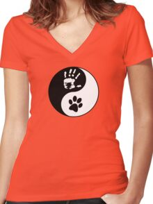 Dog Love - Ying & Yang Women's Fitted V-Neck T-Shirt