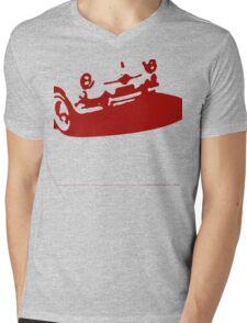 Fiat 600 Detail, 1956 - Red on Cream Mens V-Neck T-Shirt