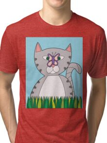 Tabby Cat and Butterfly Tri-blend T-Shirt