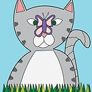 Tabby Cat and Butterfly by ValeriesGallery