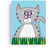 Tabby Cat and Butterfly Canvas Print