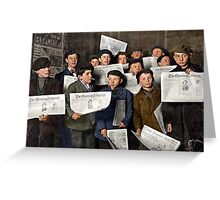 Boys starting out on morning round, New York Greeting Card