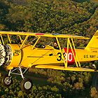 Yellow Biplane air to air by Rod Reilly