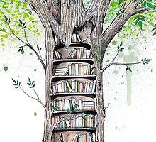 Bookcase Tree Illustration by mrmattrain