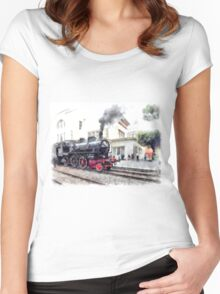 Steam locomotive in station Women's Fitted Scoop T-Shirt