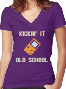 Kickin' It Old School Women's Fitted V-Neck T-Shirt