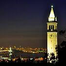 UC Berkeley Clock Tower @ Nite by Bob Moore