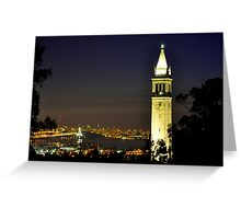 UC Berkeley Clock Tower @ Nite Greeting Card